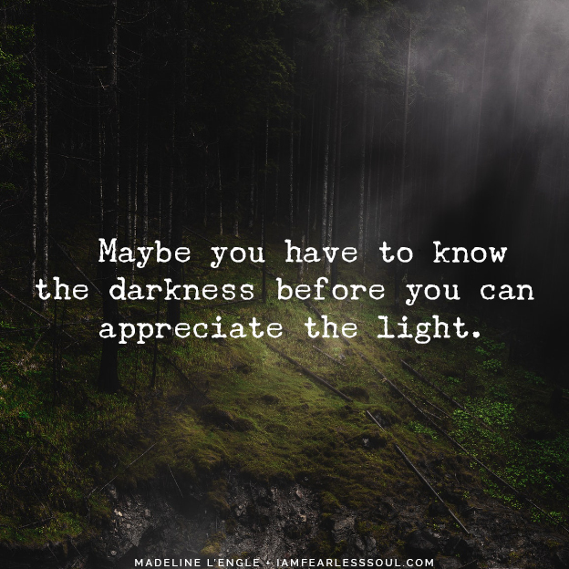 """Maybe you have to know the darkness before you can appreciate the light."" Madeline L'Engle It Is During Our Darkest Moments That We Must Focus To See The Light"