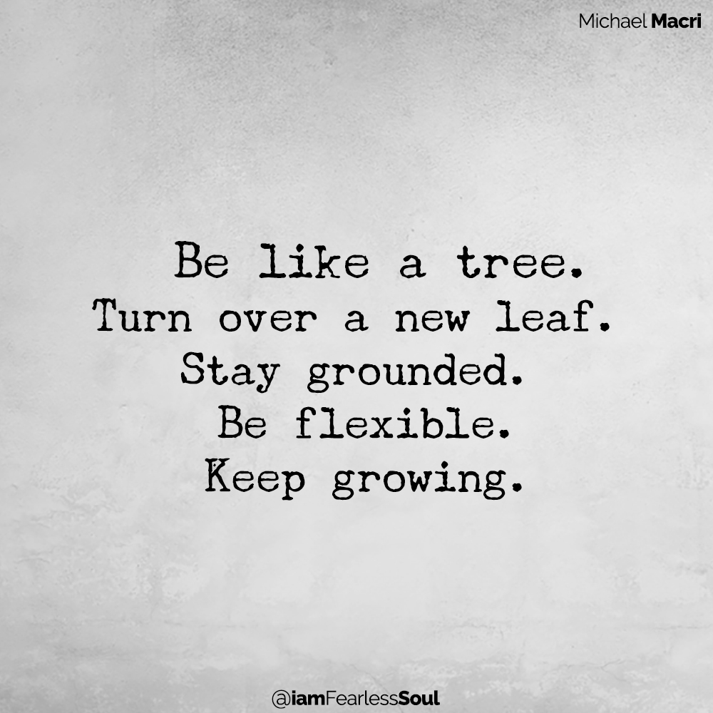 When You Can't Take Any More This Simple Step Will Create Instant Happiness Be like a tree. Turn over a new leaf. Stay grounded. Be flexible. Keep growing. Michael Macri Author Tree Quote Plant Seed Happiness Sad Depression Perspective