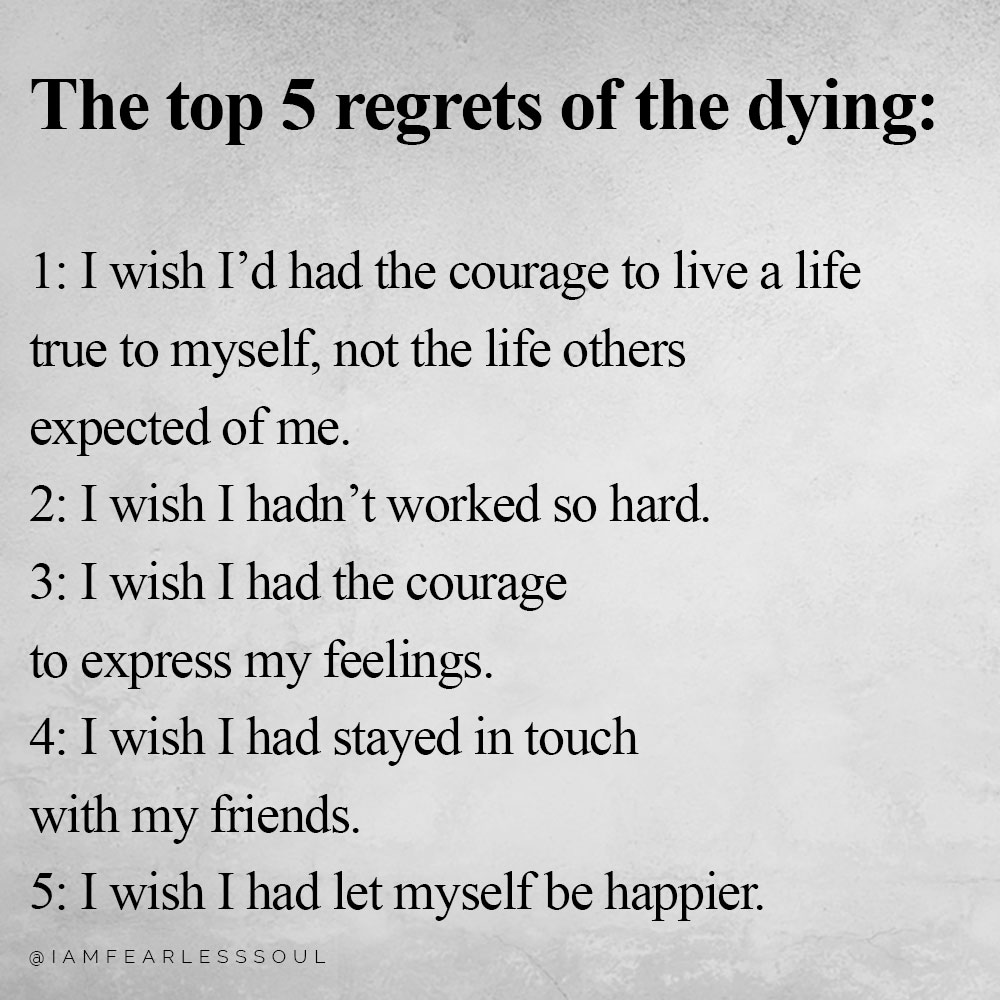 top 5 regrets of the dying